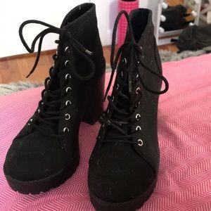 Black, heeled combat booties!